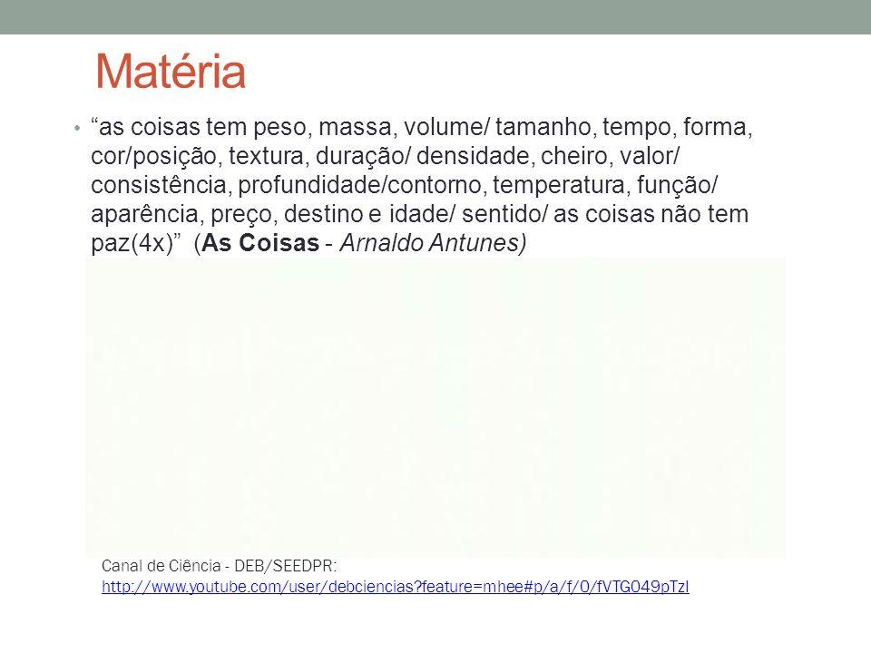 """Matéria """"as coisas tem peso, massa, volume/ tamanho, tempo, forma, cor/posição, textura, duração/ densidade, cheiro, valor/ consistência, profundidade"""