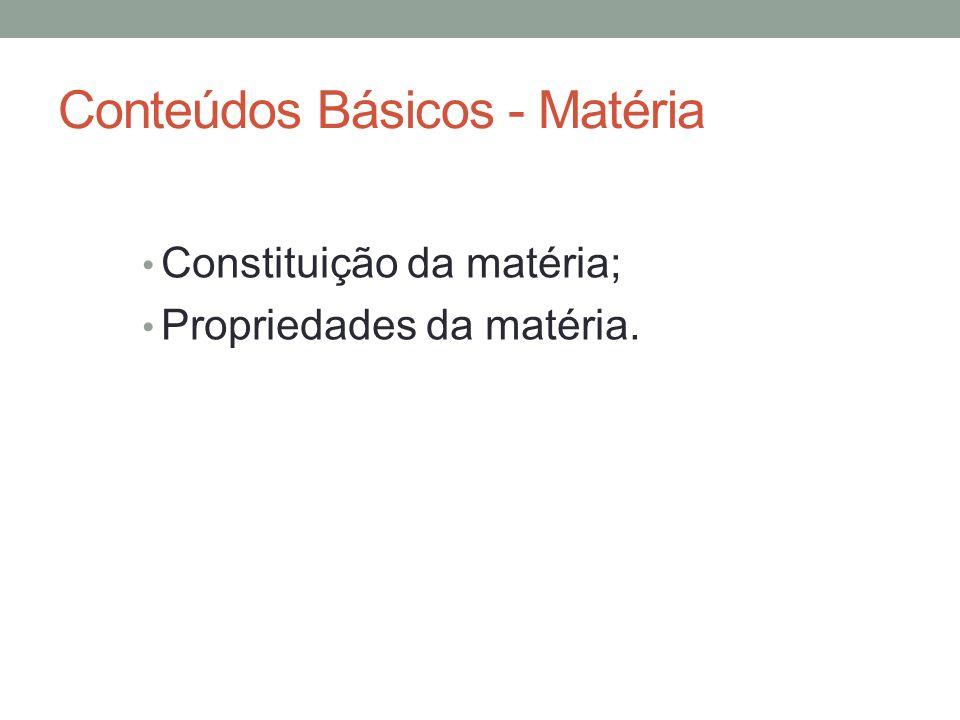 Conteúdos Básicos - Matéria Constituição da matéria; Propriedades da matéria.