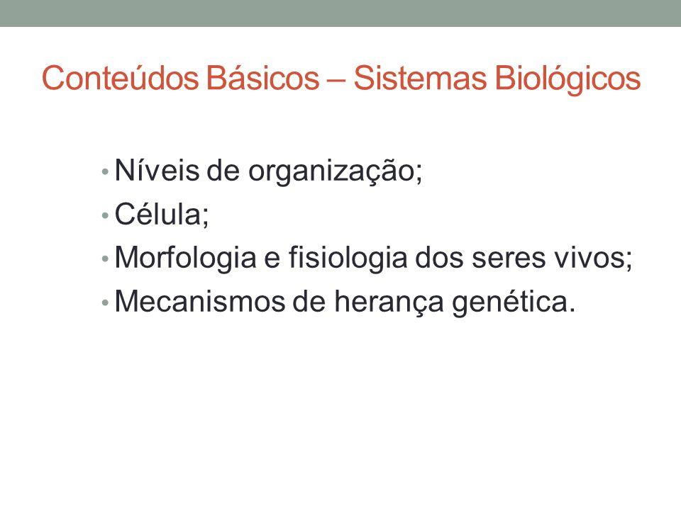 Conteúdos Básicos – Sistemas Biológicos Níveis de organização; Célula; Morfologia e fisiologia dos seres vivos; Mecanismos de herança genética.