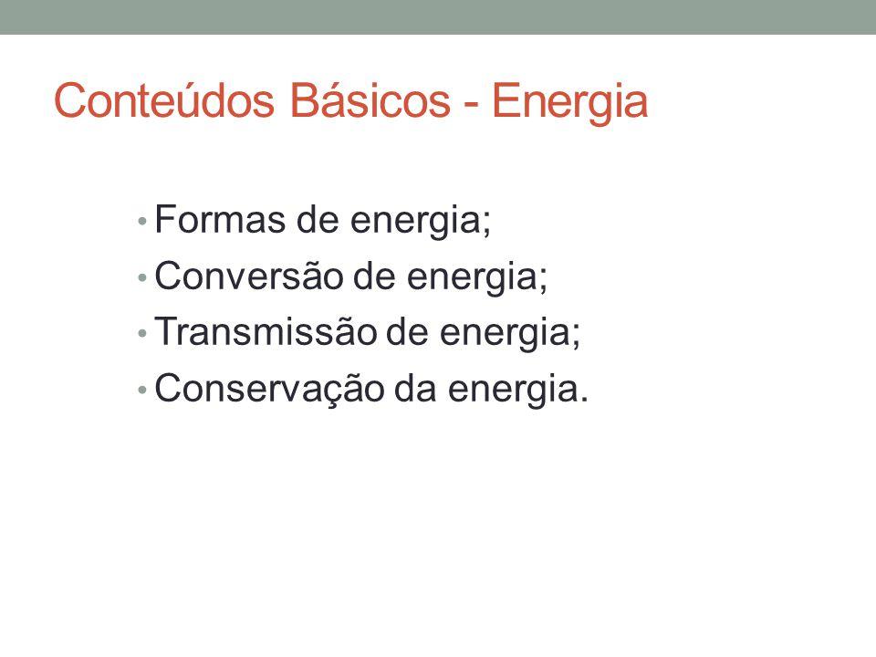 Conteúdos Básicos - Energia Formas de energia; Conversão de energia; Transmissão de energia; Conservação da energia.