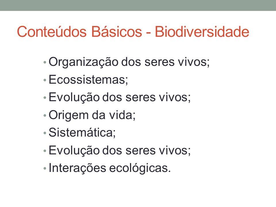 Conteúdos Básicos - Biodiversidade Organização dos seres vivos; Ecossistemas; Evolução dos seres vivos; Origem da vida; Sistemática; Evolução dos sere