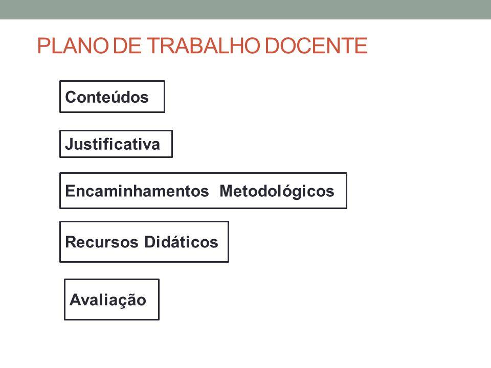 Conteúdos Justificativa Avaliação Encaminhamentos Metodológicos Recursos Didáticos PLANO DE TRABALHO DOCENTE