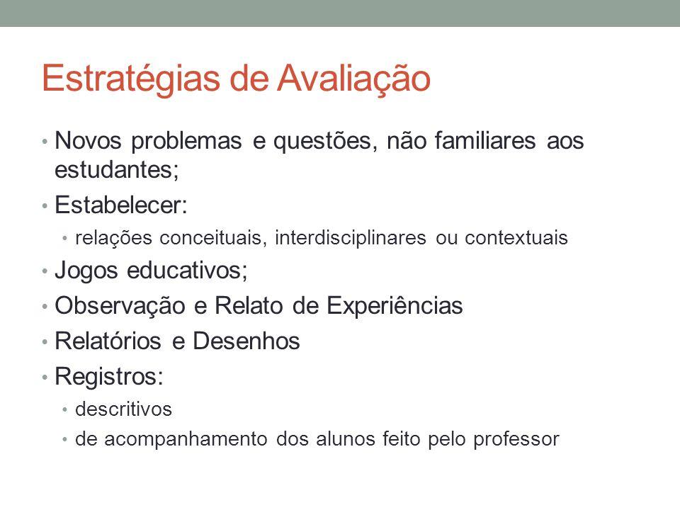 Estratégias de Avaliação Novos problemas e questões, não familiares aos estudantes; Estabelecer: relações conceituais, interdisciplinares ou contextua