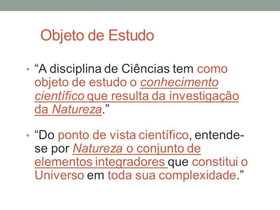 """Objeto de Estudo """"A disciplina de Ciências tem como objeto de estudo o conhecimento científico que resulta da investigação da Natureza."""" """"Do ponto de"""