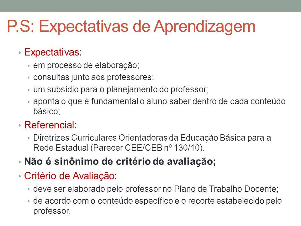 P.S: Expectativas de Aprendizagem Expectativas: em processo de elaboração; consultas junto aos professores; um subsídio para o planejamento do profess