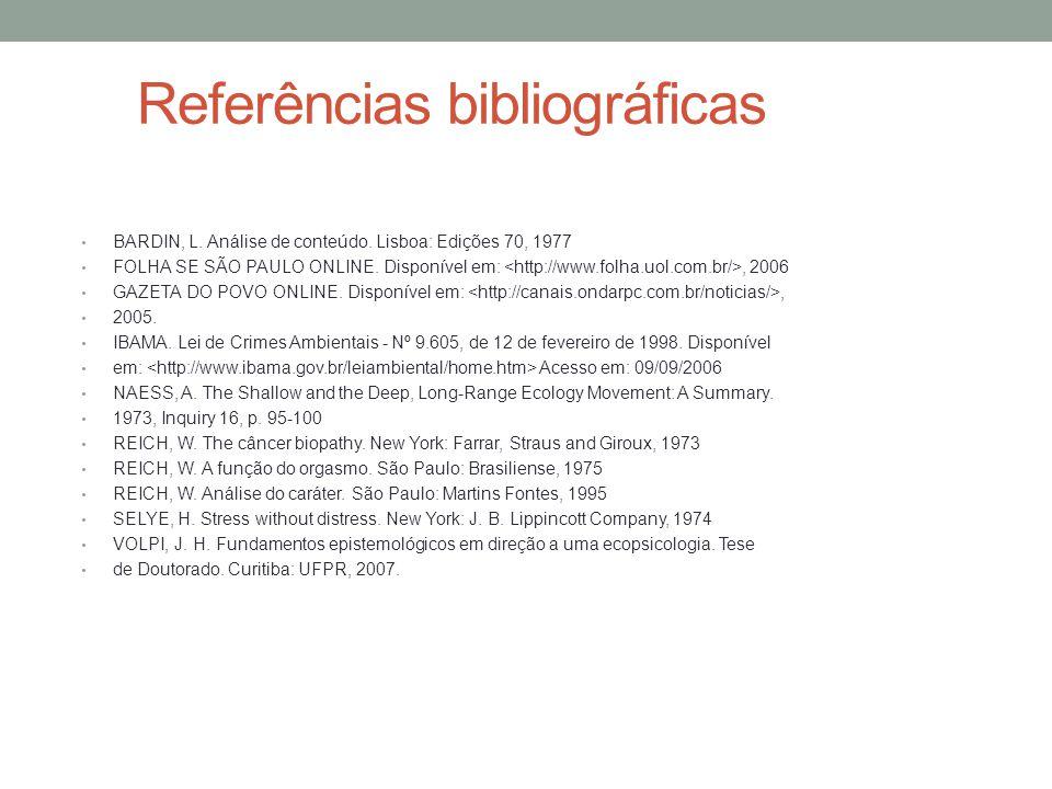 Referências bibliográficas BARDIN, L. Análise de conteúdo. Lisboa: Edições 70, 1977 FOLHA SE SÃO PAULO ONLINE. Disponível em:, 2006 GAZETA DO POVO ONL