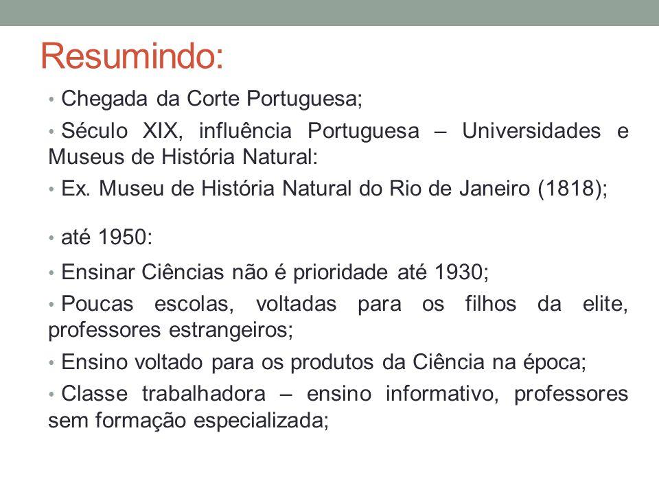 Resumindo: Chegada da Corte Portuguesa; Século XIX, influência Portuguesa – Universidades e Museus de História Natural: Ex. Museu de História Natural