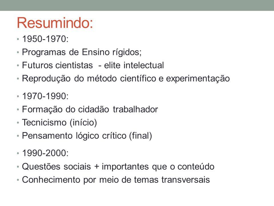 Resumindo: 1950-1970: Programas de Ensino rígidos; Futuros cientistas - elite intelectual Reprodução do método científico e experimentação 1970-1990: