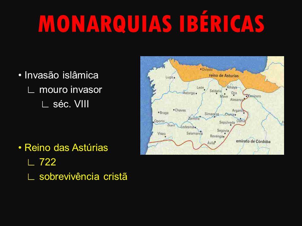 MONARQUIAS IBÉRICAS Invasão islâmica ∟ mouro invasor ∟ séc. VIII Reino das Astúrias ∟ 722 ∟ sobrevivência cristã