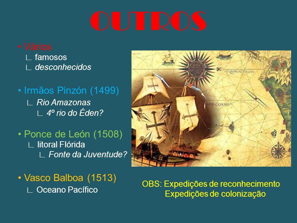 OUTROS Vários ∟ famosos ∟ desconhecidos Irmãos Pinzón (1499) ∟ Rio Amazonas ∟ 4º rio do Éden? Ponce de León (1508) ∟ litoral Flórida ∟ Fonte da Juvent
