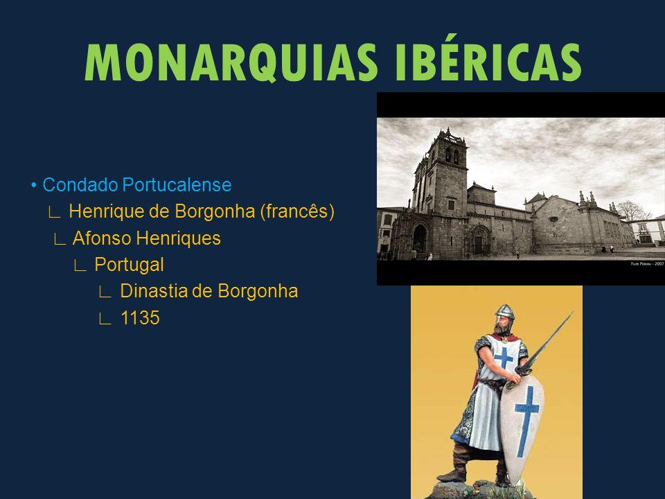 Condado Portucalense ∟ Henrique de Borgonha (francês) ∟ Afonso Henriques ∟ Portugal ∟ Dinastia de Borgonha ∟ 1135 MONARQUIAS IBÉRICAS