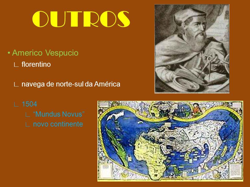 """OUTROS Americo Vespucio ∟ florentino ∟ navega de norte-sul da América ∟ 1504 ∟ """"Mundus Novus"""" ∟ novo continente"""