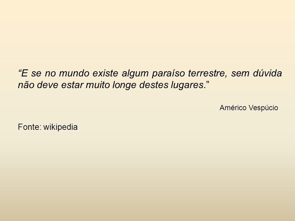 """""""E se no mundo existe algum paraíso terrestre, sem dúvida não deve estar muito longe destes lugares."""" Américo Vespúcio Fonte: wikipedia"""