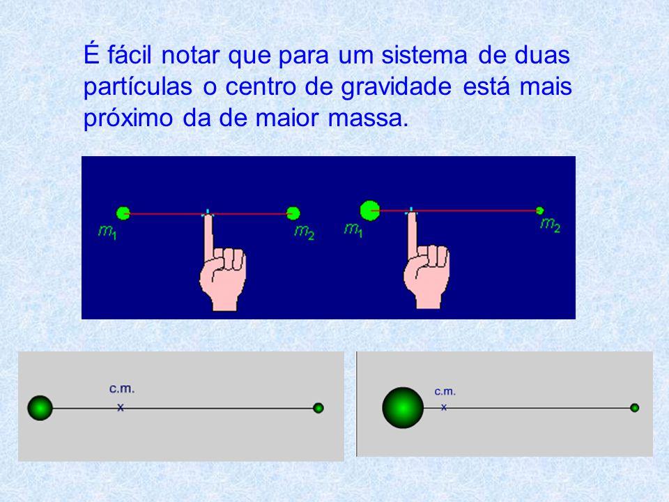 É fácil notar que para um sistema de duas partículas o centro de gravidade está mais próximo da de maior massa.