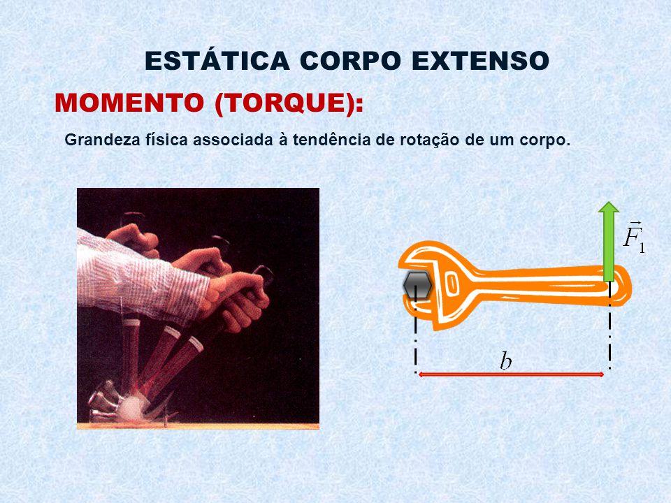 ESTÁTICA CORPO EXTENSO MOMENTO (TORQUE): Grandeza física associada à tendência de rotação de um corpo.