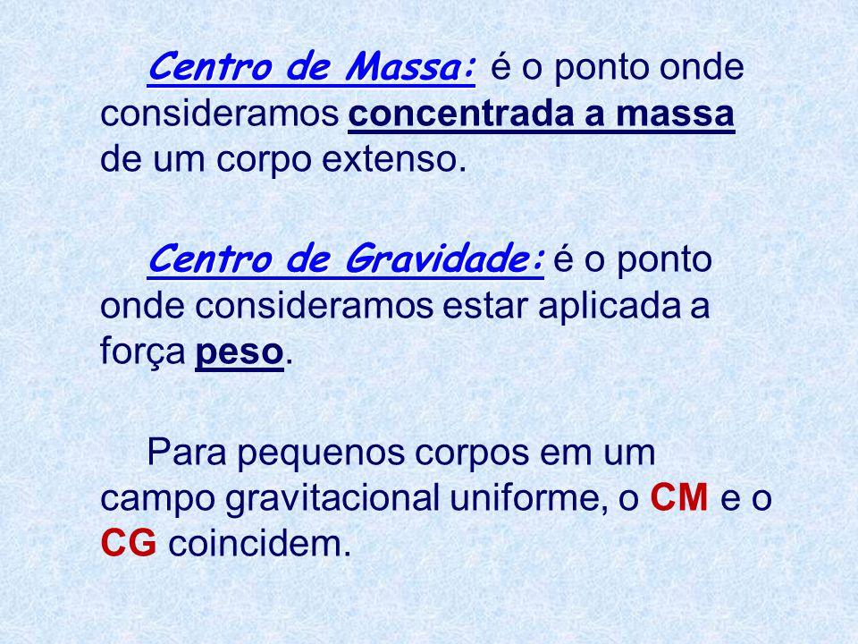 Centro de Massa: Centro de Massa: é o ponto onde consideramos concentrada a massa de um corpo extenso. Centro de Gravidade: Centro de Gravidade: é o p