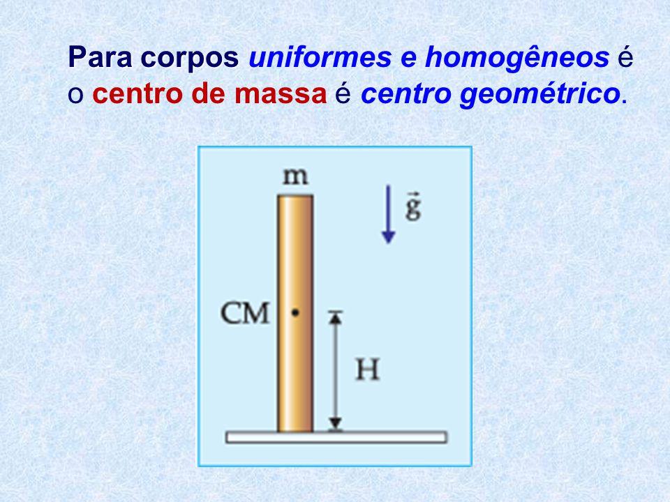 Para corpos Para corpos uniformes e homogêneos é o centro de massa é centro geométrico.