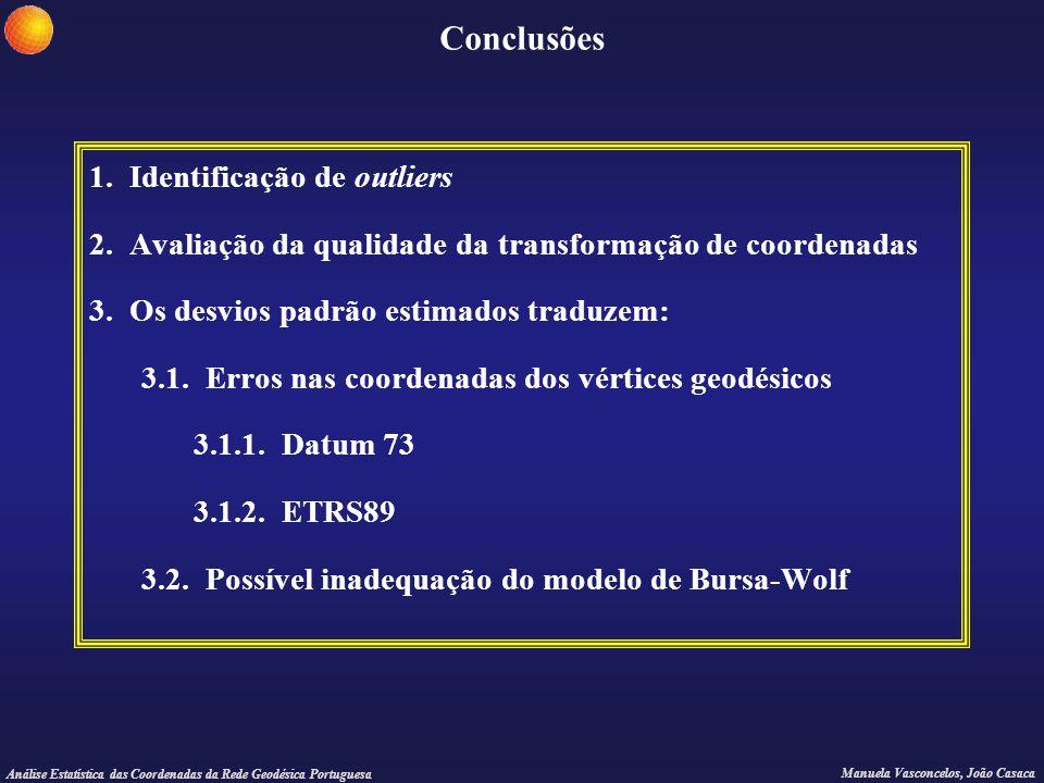 Análise Estatística das Coordenadas da Rede Geodésica Portuguesa Manuela Vasconcelos, João Casaca Conclusões 1. Identificação de outliers 2. Avaliação