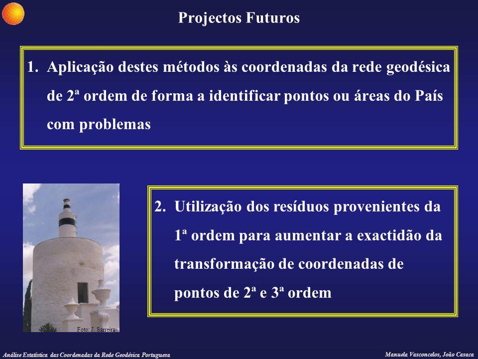Análise Estatística das Coordenadas da Rede Geodésica Portuguesa Manuela Vasconcelos, João Casaca Projectos Futuros 1. Aplicação destes métodos às coo