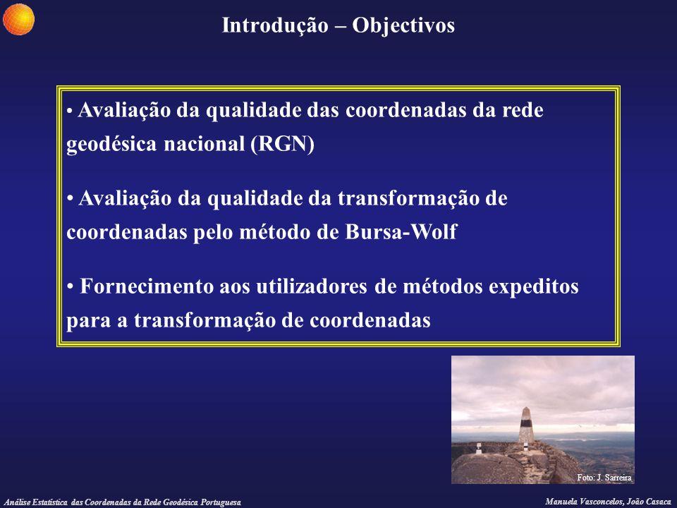 Análise Estatística das Coordenadas da Rede Geodésica Portuguesa Manuela Vasconcelos, João Casaca Introdução – Objectivos Avaliação da qualidade das c