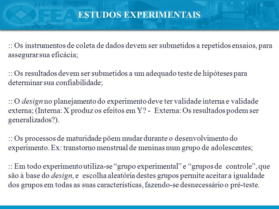 :: Os instrumentos de coleta de dados devem ser submetidos a repetidos ensaios, para assegurar sua eficácia; :: Os resultados devem ser submetidos a u