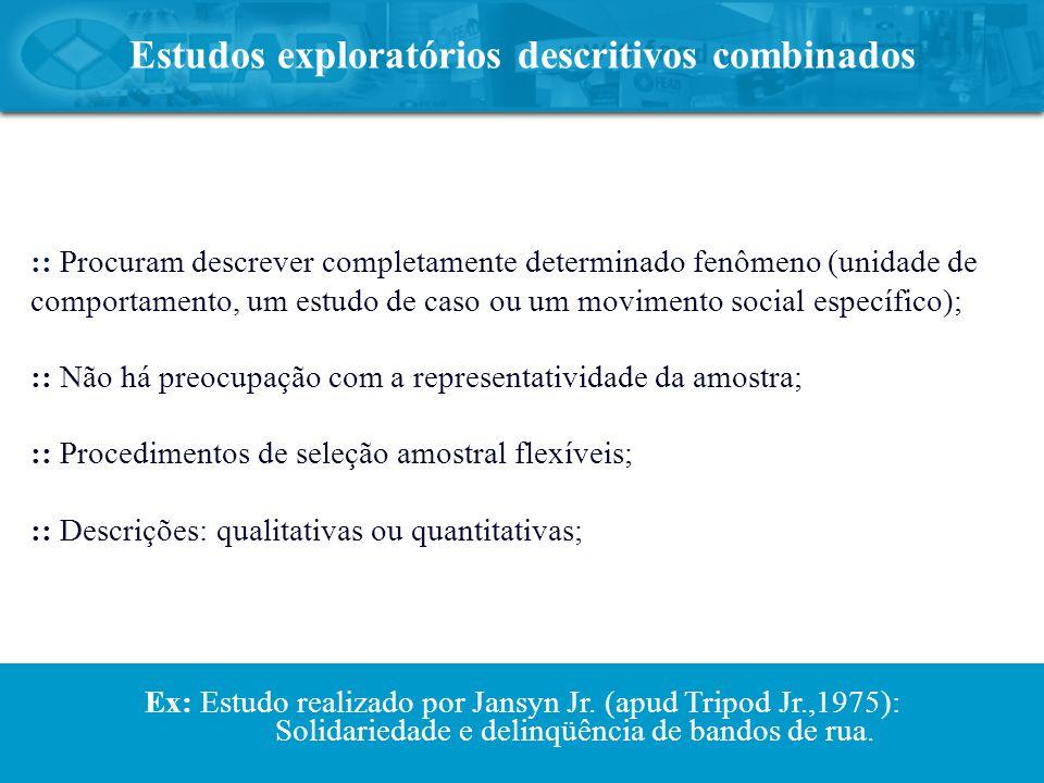 Estudos exploratórios descritivos combinados :: Procuram descrever completamente determinado fenômeno (unidade de comportamento, um estudo de caso ou