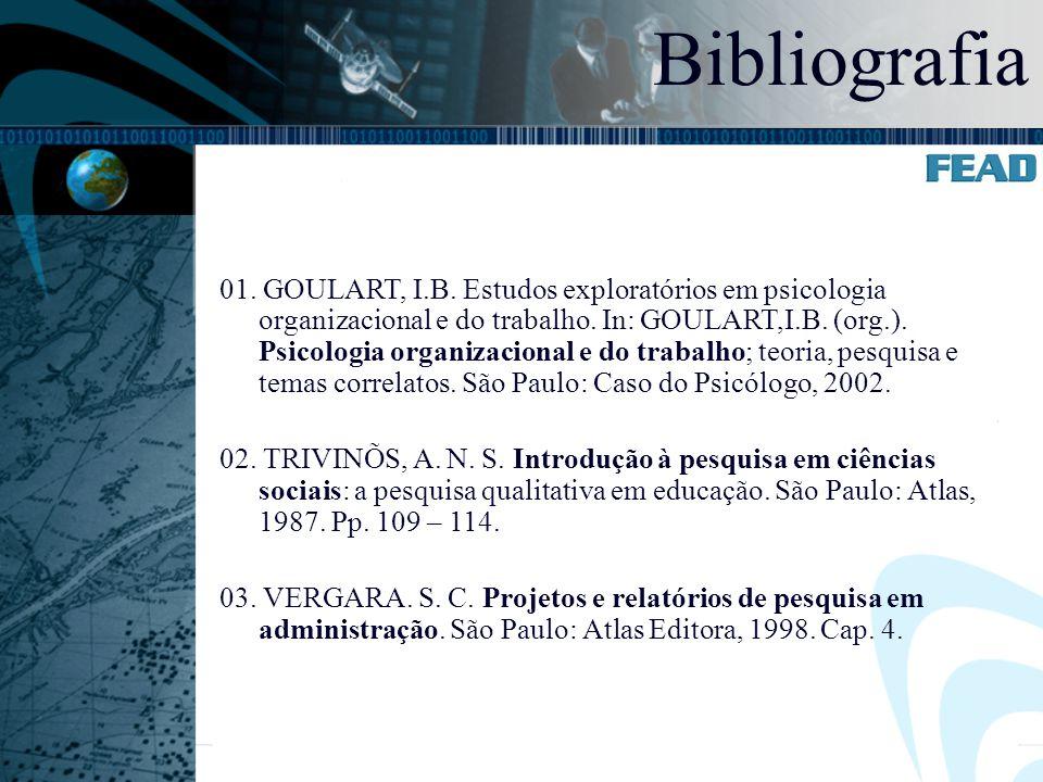 01. GOULART, I.B. Estudos exploratórios em psicologia organizacional e do trabalho. In: GOULART,I.B. (org.). Psicologia organizacional e do trabalho;