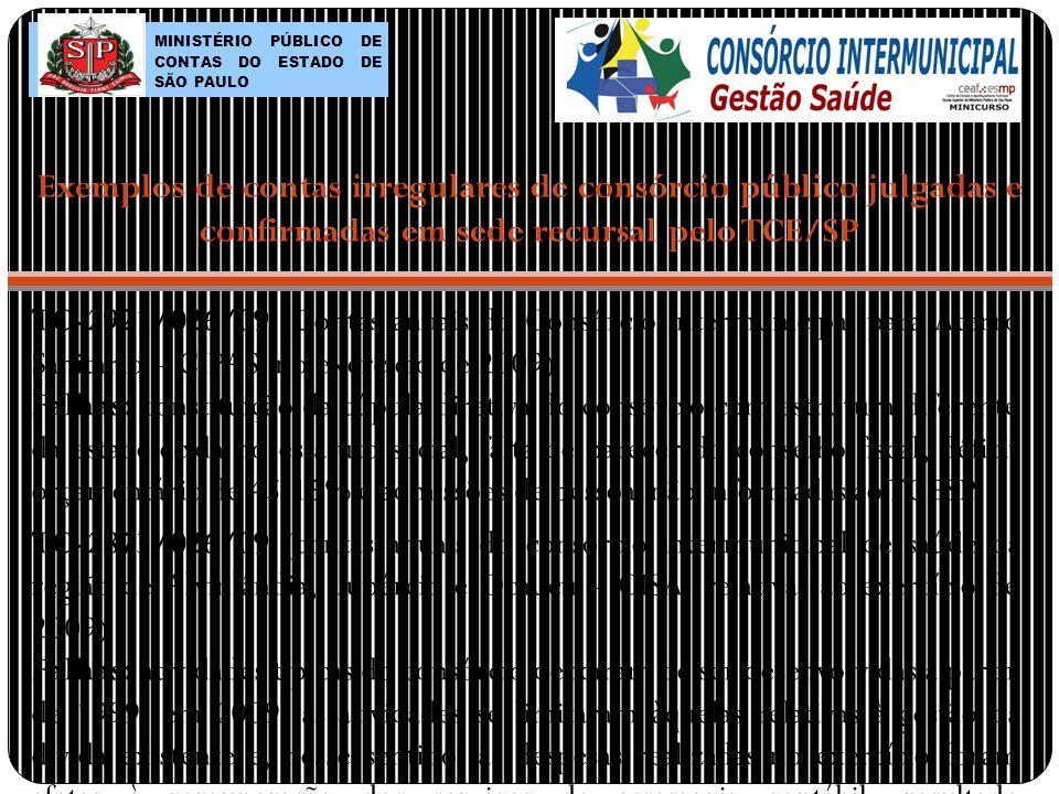 TC-2921/026/09 (Contas anuais do Consórcio Intermunicipal para Aterro Sanitário – CIPAS, no exercício de 2009) Falhas: constituição da cúpula diretiva do consórcio com estrutura diferente da estabelecida no estatuto social, falta de parecer do conselho fiscal, déficit orçamentário de 45,15% e admissões de pessoal não informadas ao TCESP.