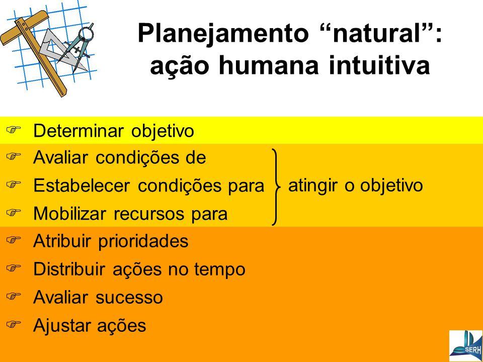 Planejamento natural : ação humana intuitiva  Avaliar condições de  Estabelecer condições para  Mobilizar recursos para atingir o objetivo  Determinar objetivo  Atribuir prioridades  Distribuir ações no tempo  Avaliar sucesso  Ajustar ações