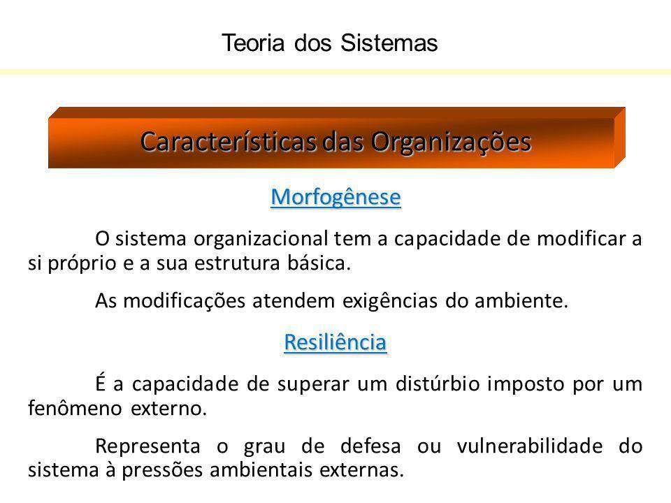 Teoria dos Sistemas Características das Organizações Morfogênese O sistema organizacional tem a capacidade de modificar a si próprio e a sua estrutura