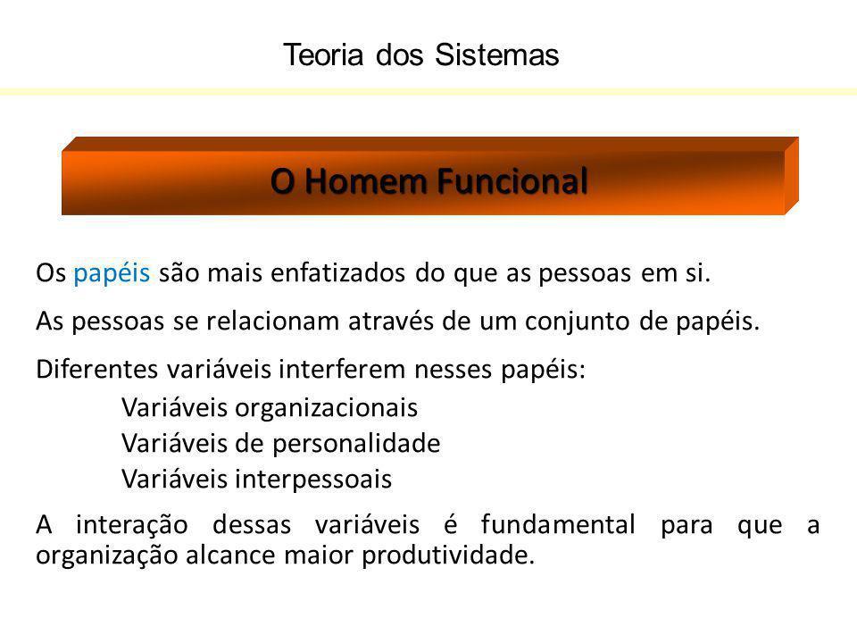 Teoria dos Sistemas O Homem Funcional Os papéis são mais enfatizados do que as pessoas em si. As pessoas se relacionam através de um conjunto de papéi