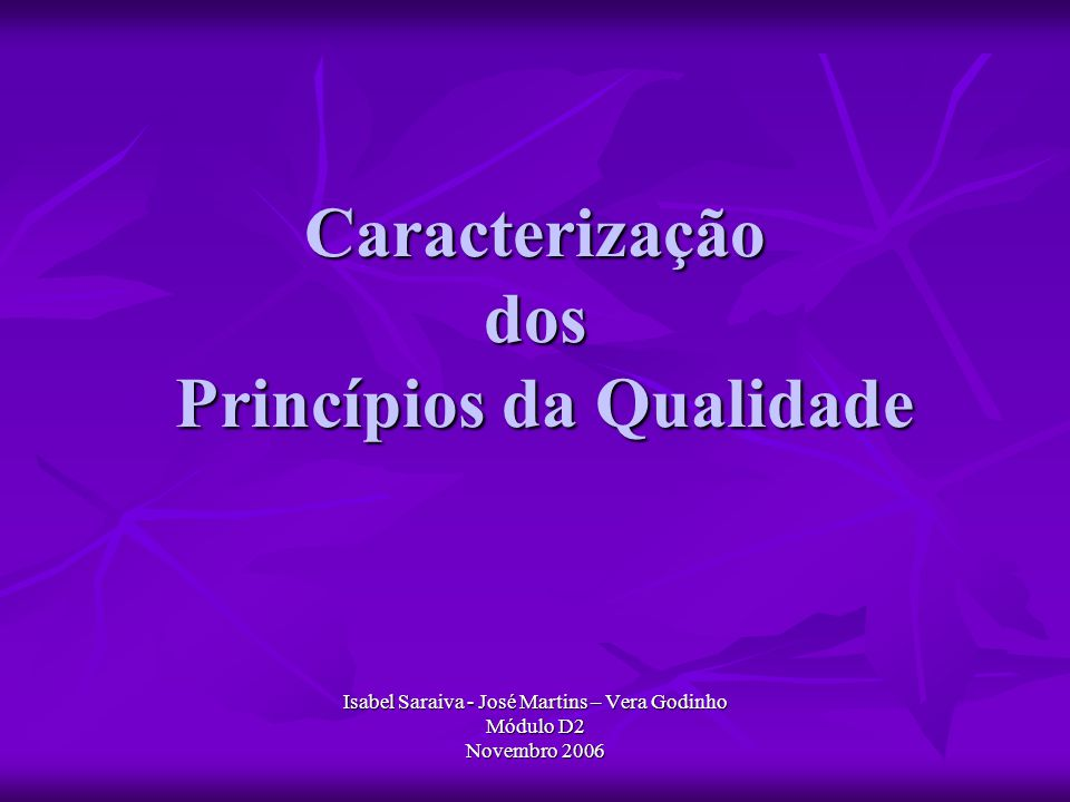 Caracterização dos Princípios da Qualidade Isabel Saraiva - José Martins – Vera Godinho Módulo D2 Novembro 2006