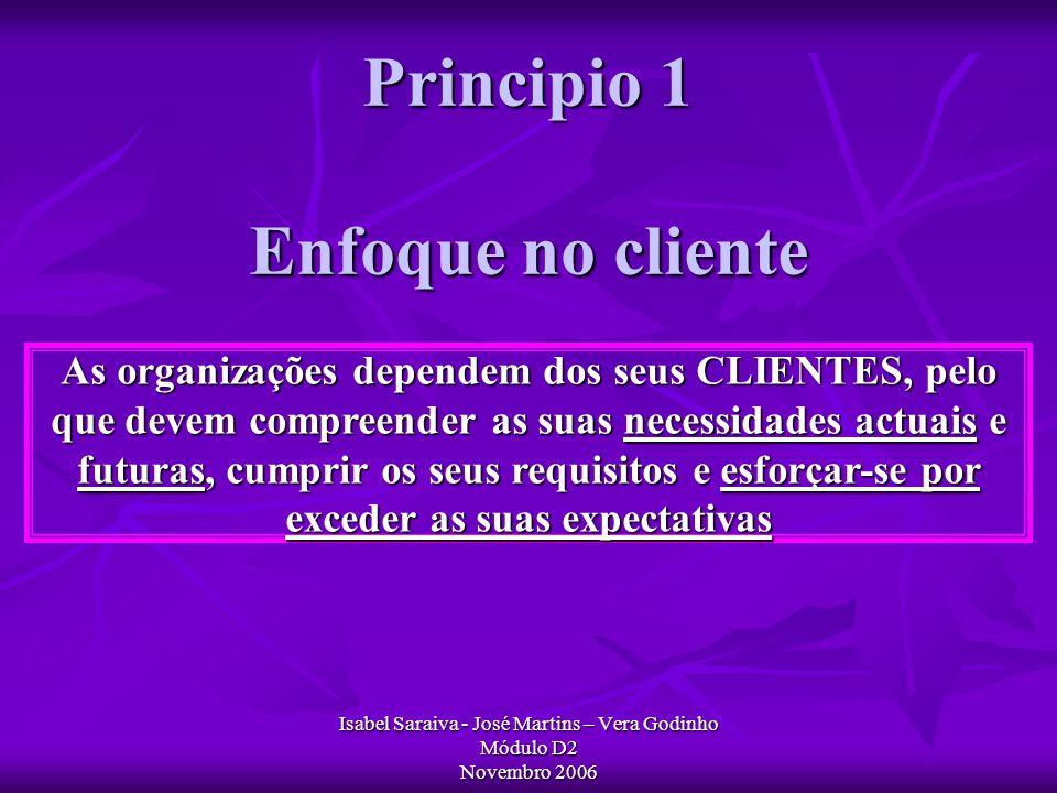 Principio 1 Enfoque no cliente Isabel Saraiva - José Martins – Vera Godinho Módulo D2 Novembro 2006 As organizações dependem dos seus CLIENTES, pelo que devem compreender as suas necessidades actuais e futuras, cumprir os seus requisitos e esforçar-se por exceder as suas expectativas