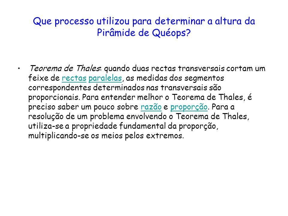 O teorema de Thales: as razões AD/AB, AE/AC e DE/BC são iguais ______________________________________________________________________ Esquema que mostra a validade do Teorema de Thales Considerando-se o exemplo da figura, tem-se: