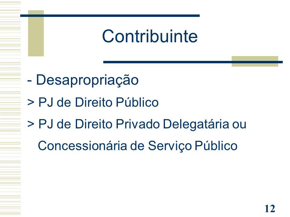 12 - Desapropriação > PJ de Direito Público > PJ de Direito Privado Delegatária ou Concessionária de Serviço Público Contribuinte