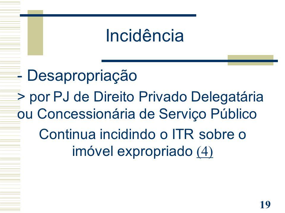 19 - Desapropriação > por PJ de Direito Privado Delegatária ou Concessionária de Serviço Público Continua incidindo o ITR sobre o imóvel expropriado (