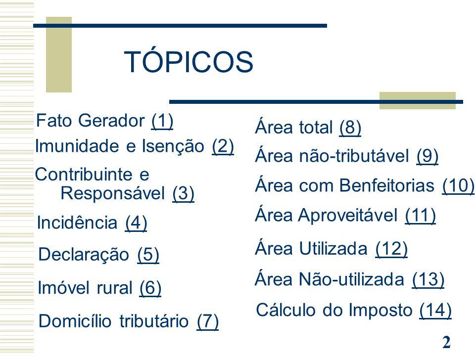2 Fato Gerador (1)(1) Imunidade e Isenção (2)(2) Contribuinte e Responsável (3)(3) TÓPICOS Incidência (4)(4) Declaração (5)(5) Imóvel rural (6)(6) Dom
