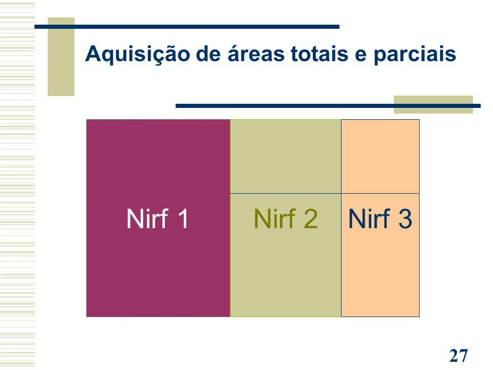 27 Nirf 1Nirf 2Nirf 3 Aquisição de áreas totais e parciais