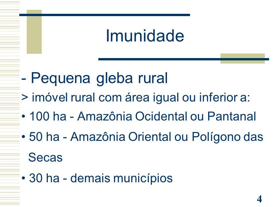 4 Imunidade - Pequena gleba rural > imóvel rural com área igual ou inferior a: 100 ha - Amazônia Ocidental ou Pantanal 50 ha - Amazônia Oriental ou Po
