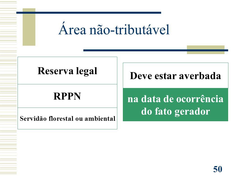50 RPPN Reserva legal Servidão florestal ou ambiental Deve estar averbada na data de ocorrência do fato gerador Área não-tributável