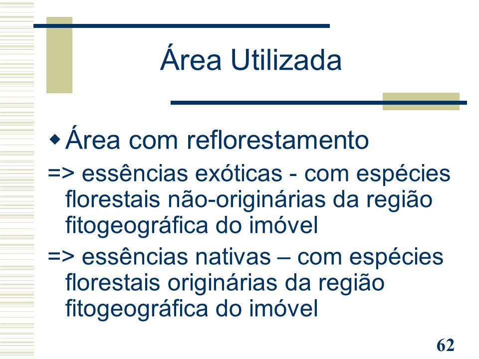 62  Área com reflorestamento => essências exóticas - com espécies florestais não-originárias da região fitogeográfica do imóvel => essências nativas