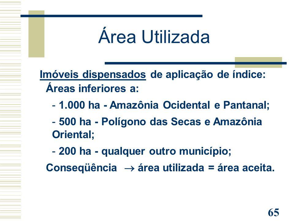 65 Imóveis dispensados de aplicação de índice: Áreas inferiores a: - 1.000 ha - Amazônia Ocidental e Pantanal; - 500 ha - Polígono das Secas e Amazôni