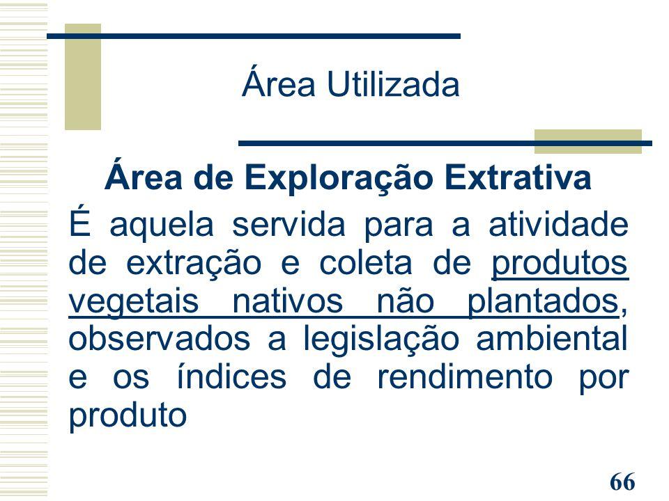 66 Área de Exploração Extrativa É aquela servida para a atividade de extração e coleta de produtos vegetais nativos não plantados, observados a legisl