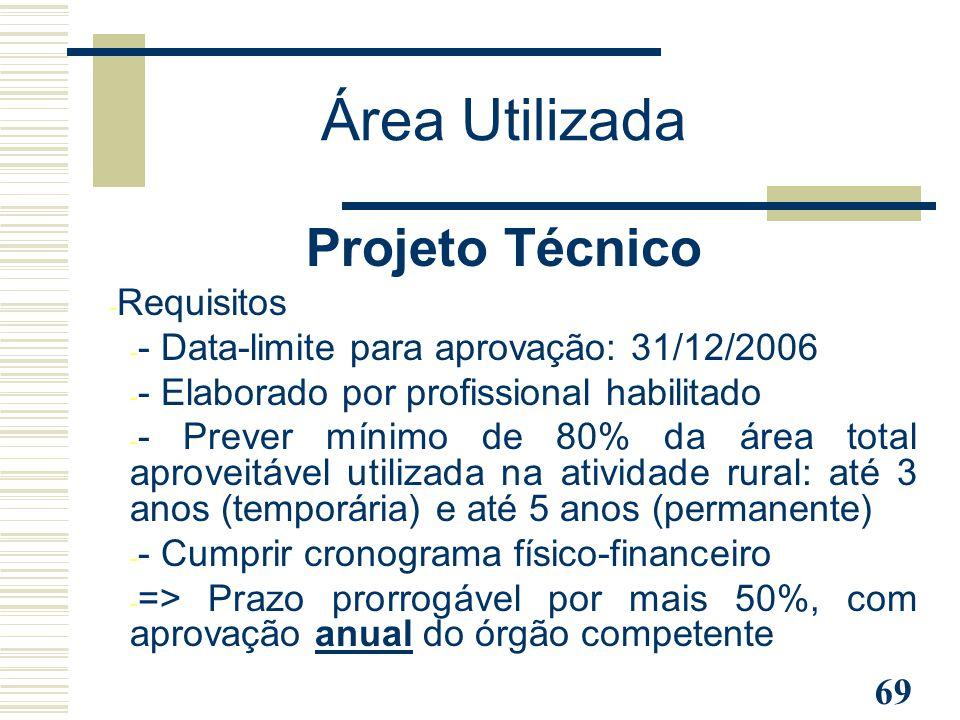 69 Projeto Técnico - Requisitos - - Data-limite para aprovação: 31/12/2006 - - Elaborado por profissional habilitado - - Prever mínimo de 80% da área