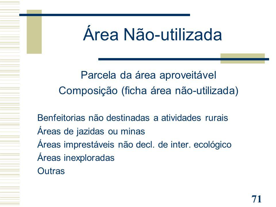 71 Área Não-utilizada Parcela da área aproveitável Composição (ficha área não-utilizada) Benfeitorias não destinadas a atividades rurais Áreas de jazi