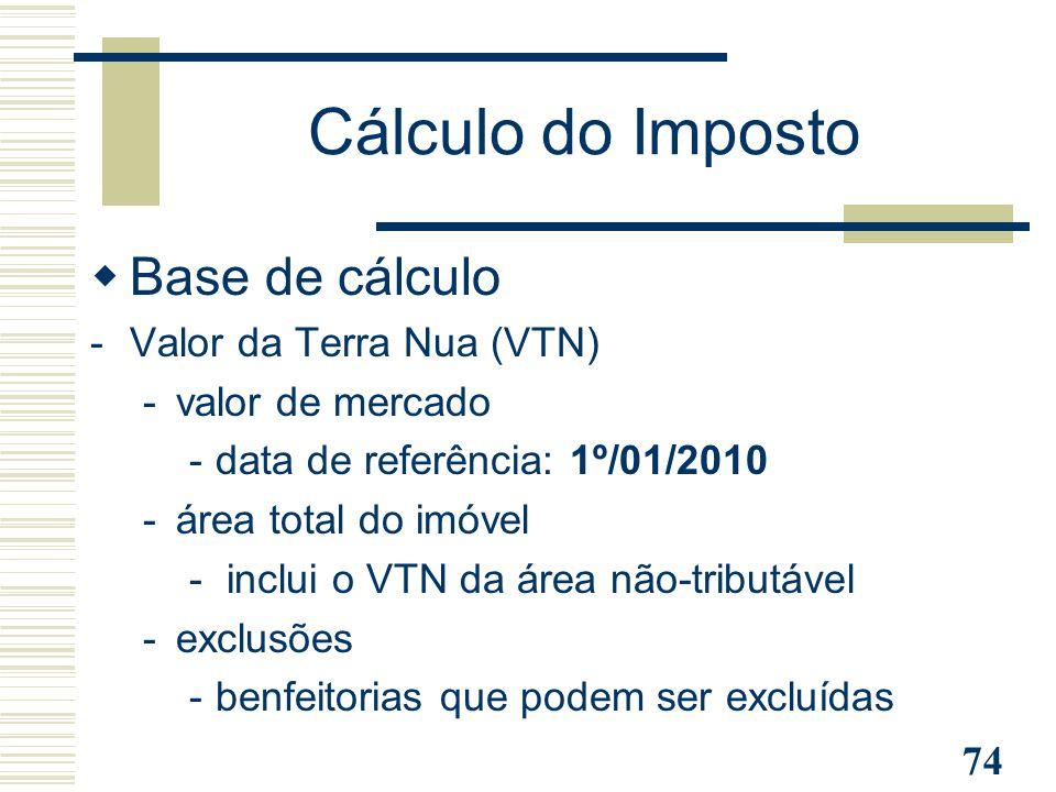 74 Cálculo do Imposto  Base de cálculo -Valor da Terra Nua (VTN) -valor de mercado -data de referência: 1º/01/2010 -área total do imóvel - inclui o V