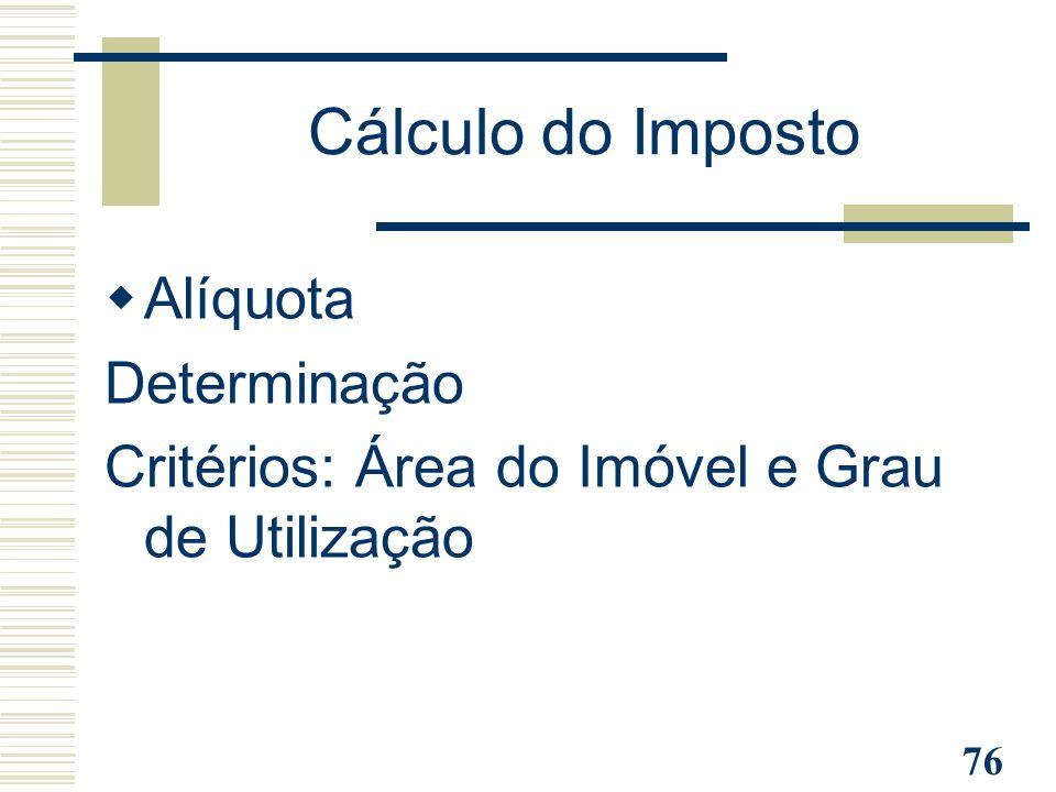 76 Cálculo do Imposto  Alíquota Determinação Critérios: Área do Imóvel e Grau de Utilização