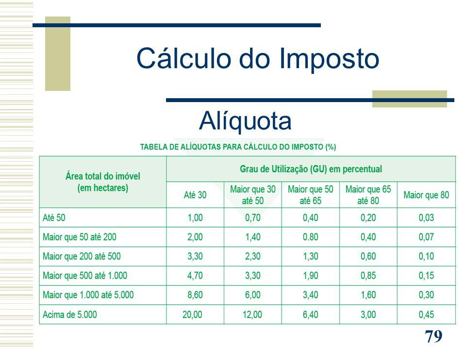 79 Cálculo do Imposto Alíquota