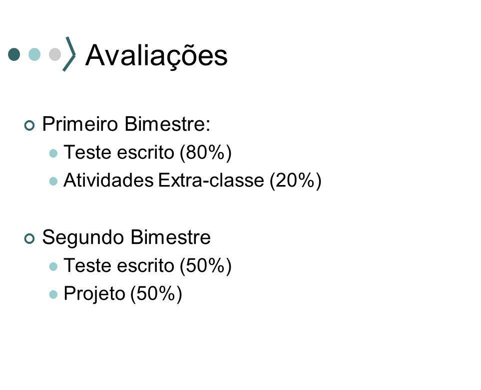 Avaliações Primeiro Bimestre: Teste escrito (80%) Atividades Extra-classe (20%) Segundo Bimestre Teste escrito (50%) Projeto (50%)