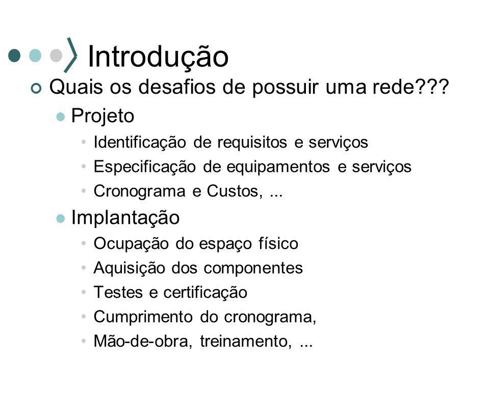 Introdução Quais os desafios de possuir uma rede??? Projeto Identificação de requisitos e serviços Especificação de equipamentos e serviços Cronograma